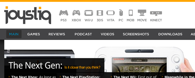 Joystiq home page top navigation bar