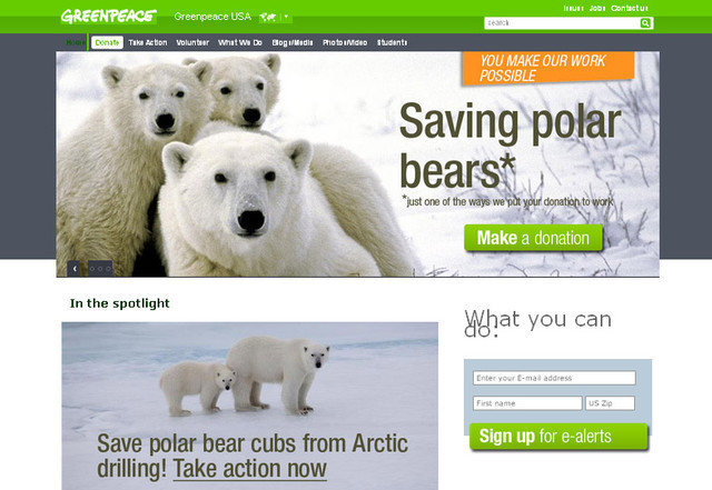Greenpeace USA makes use of fresh and refreshing colors to distinguish their website from others