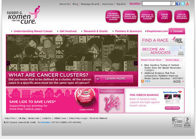 The Susan G. Komen for the Cure charity website uses many shades of pink across the page
