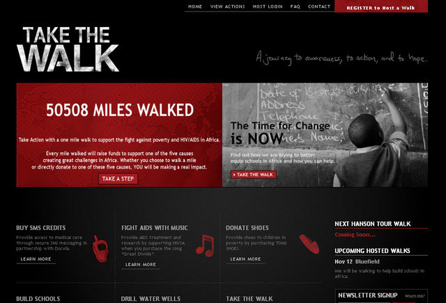 The dark color theme of Take The Walk's design is what sets it apart