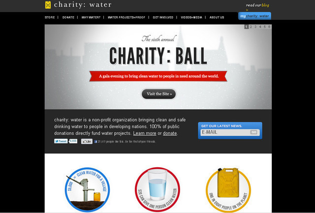 Charity Water and Email subscription field are blue while the rest of the content and buttons are presented in black and white