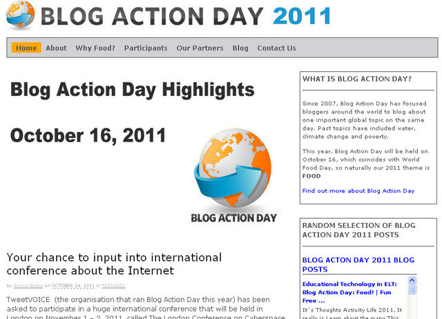 Blog Action Day is an extremely simple and fresh website design