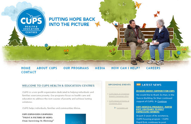 The web designer of Cups has successfully created a very natural and pleasant website design