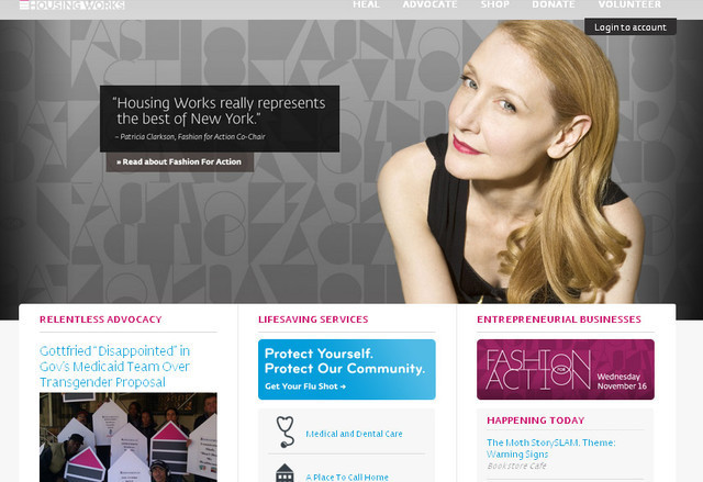 Housing Works website design's subtle and pleasant color combination is straight forward