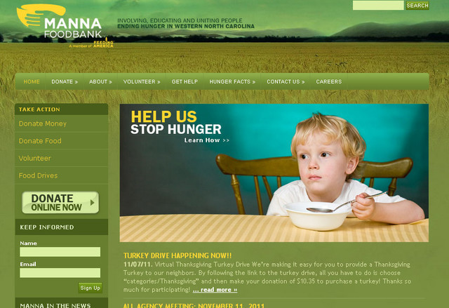 The MANNA Food Bank website design is in a shade of green that conveys the message of greenery