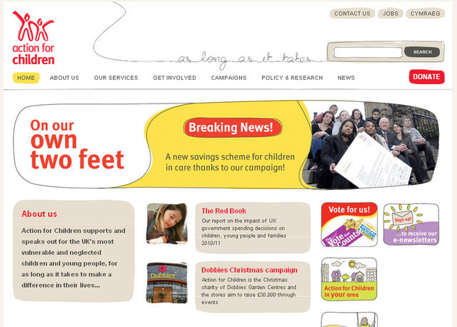 The Action for Children web design is simple and uncomplicated while giving it a very beautiful look