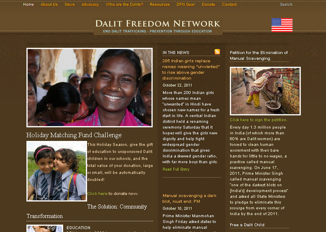 Dalit Freedom Network design brings dark color into play with a combination of white
