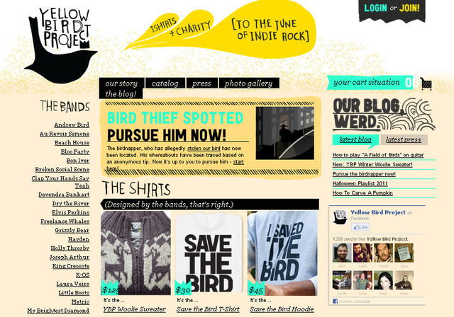 the Yellow Bird Project calls more attention to the content of the website rather than the design solely