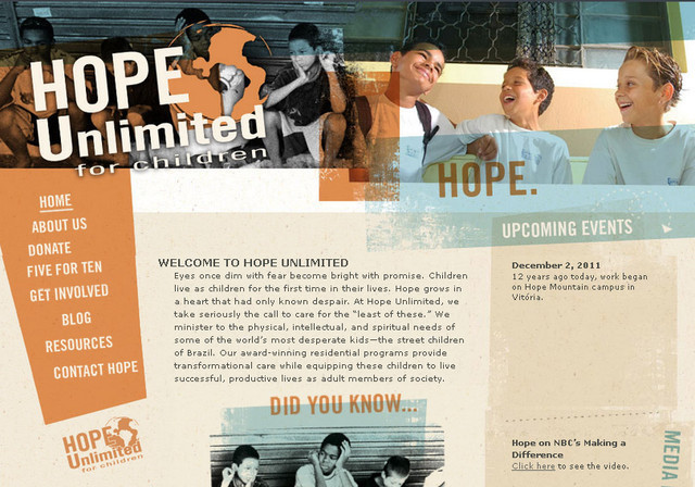 the Hope Unlimited website design is different and unique from other website designs