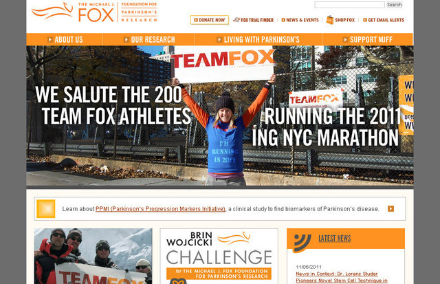 The Michael J. Fox Foundation for Parkinsons Research creatively divides the web page into four segments
