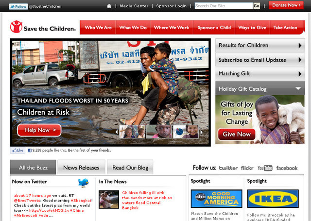 The Save the Children website presents information in a concise and user-friendly manner