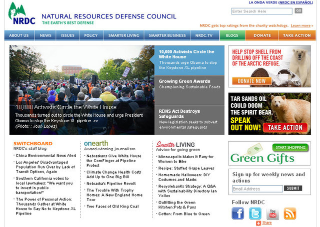 Natural Resources Defense Council takes advantage of three different colors to make its header easy to read