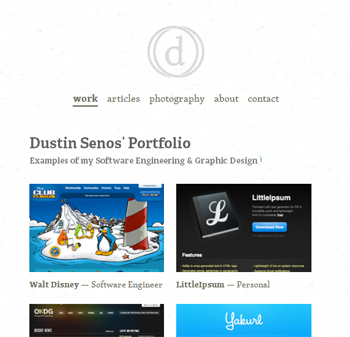 responsive mobile view of Dustin Senos