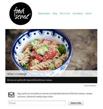 responsive mobile view of Food Sense