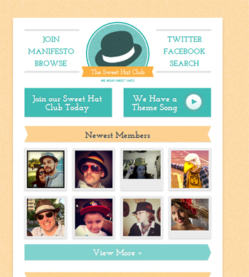 responsive mobile view of Sweet Hat Club