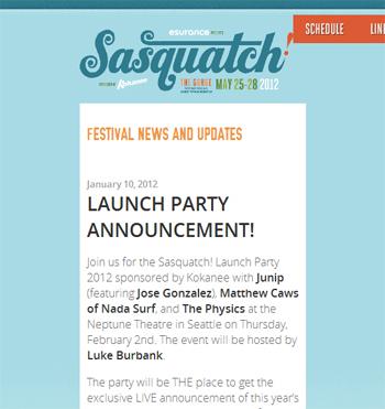 responsive mobile view of Sasquatch Music Festival