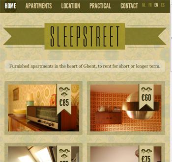 responsive mobile view of Sleepstreet
