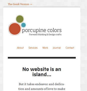 responsive mobile view of Porcupine