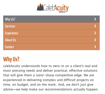 responsive mobile view of CalebAcuity