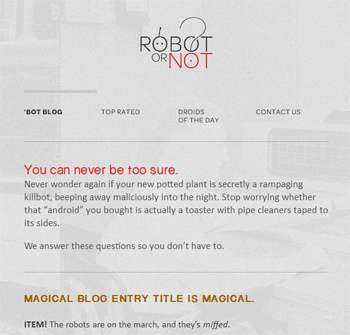 responsive mobile view of Robot... Or Not?