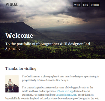 responsive mobile view of Visua Design