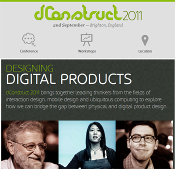 responsive mobile view of dConstruct 2011