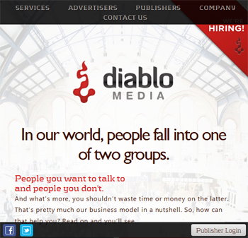 responsive mobile view of Diablo Media