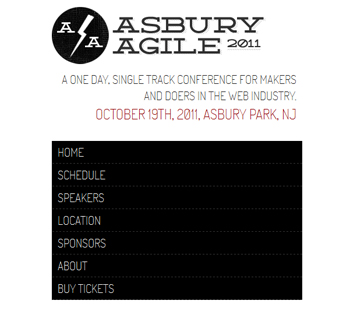 responsive mobile view of Asbury Agile Web Conference