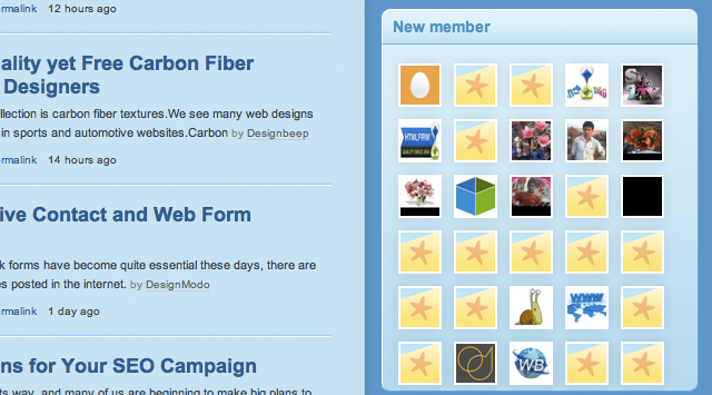New members on Design Shovel - sidebar widget
