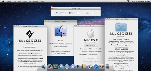 Mac OS X Lion Recreated with CSS3