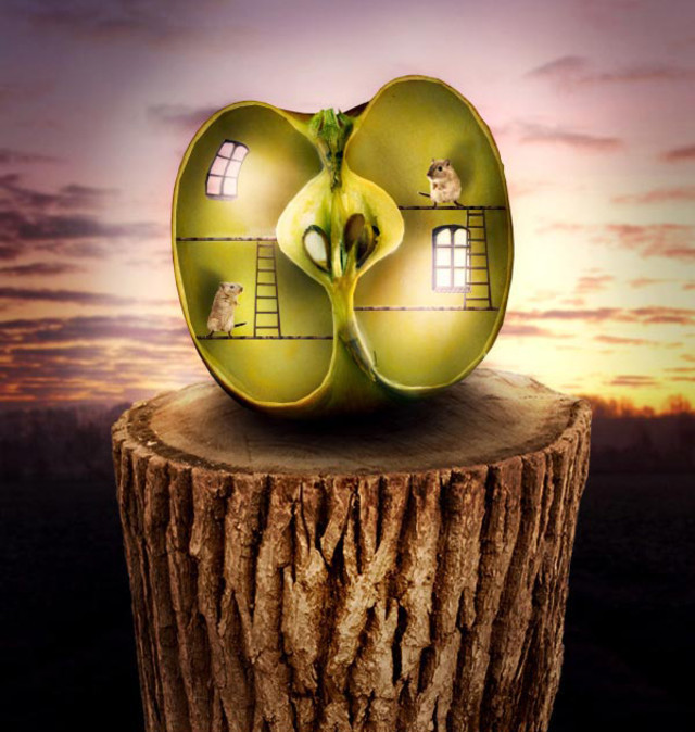 Surreal Apple Habitat Scene tutorial in Photoshop