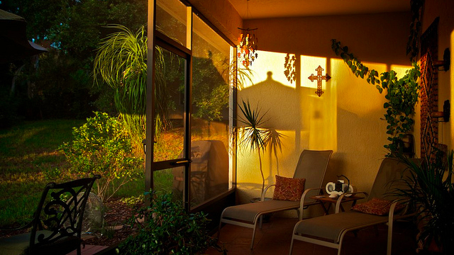 indoor house patio @ sunset