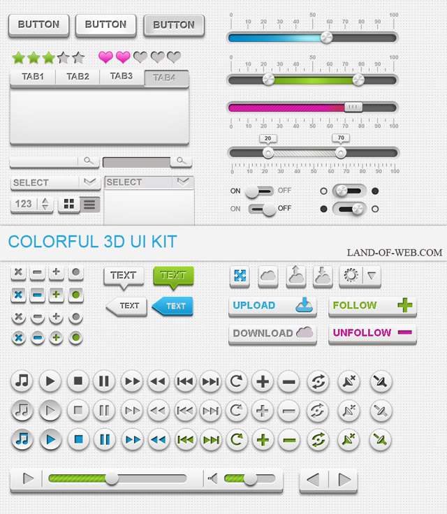 Colorful 3D UI Kit freebie psd