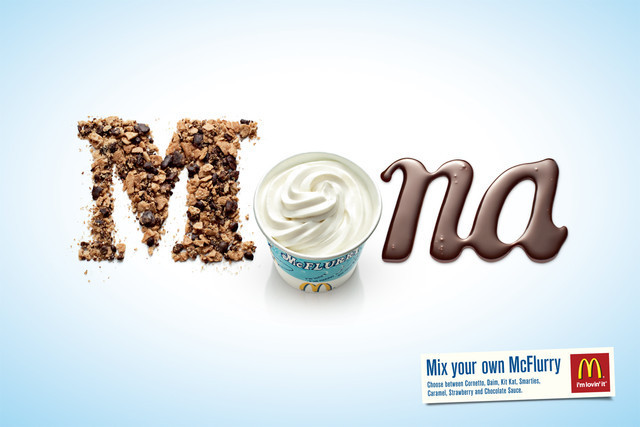 The McDonald's McFlurry: Mona as an example of inspirational typography example in print ads