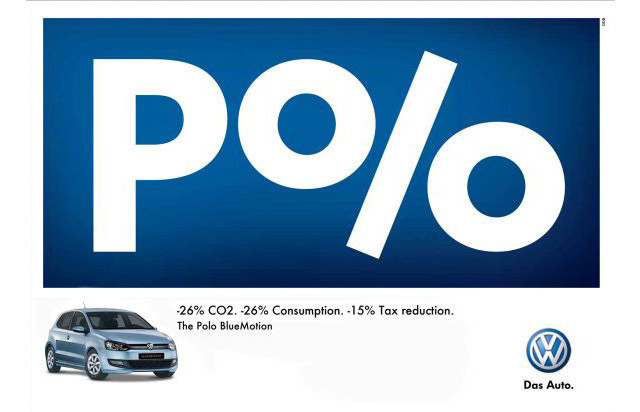 The Volkswagen Polo: Percent as an example of inspirational Typography in Print Ads