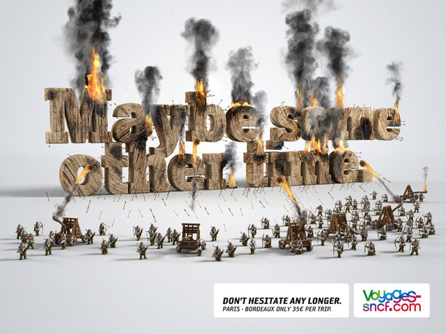 The Voyages-Sncf.com: Other time as an example of inspirational typography example in print ads