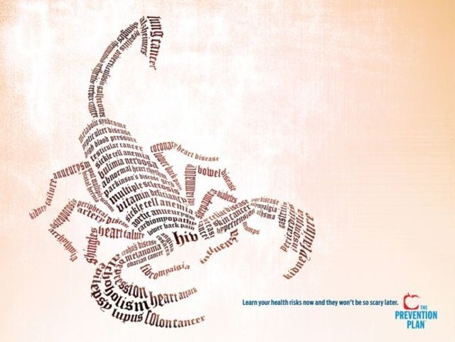 The US Preventive Medicine / The Prevention Plan: Scorpion as an example of inspirational typography example in print ads
