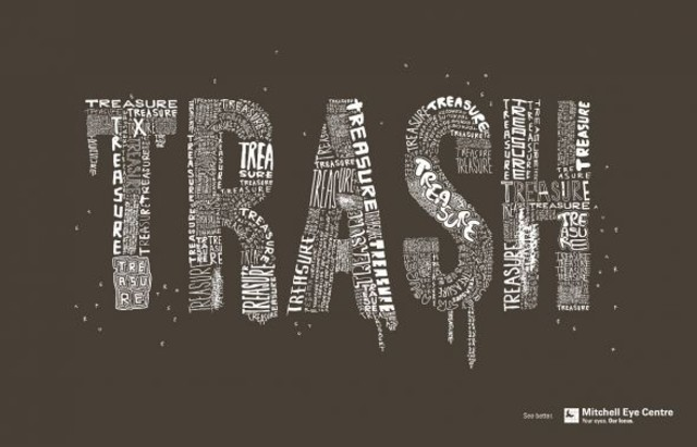 The Mitchell Eye Centre: Trash as an example of inspirational typography example in print ads