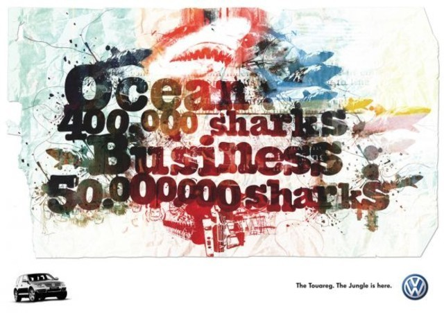 The Volkswagen Touareg: Sharks as an example of inspirational typography example in print ads