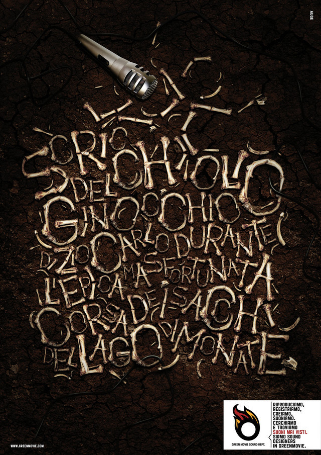 The GreenMovie Sound Dept.: Watch the sound, 2 as an example of inspirational typography example in print ads