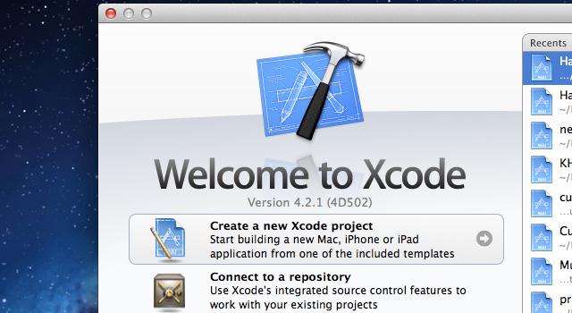 Xcode startup menu window