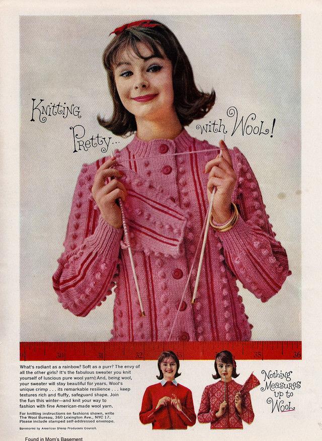 Lindo 1959 anuncio para tejer la lana