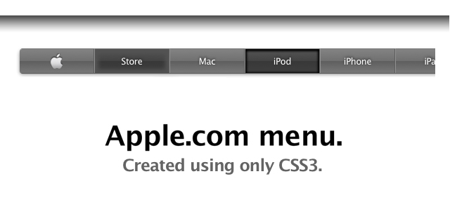 The Apple.com navigation menu created using only CSS3