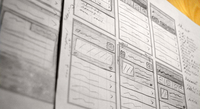 iPhone wireframe sketches