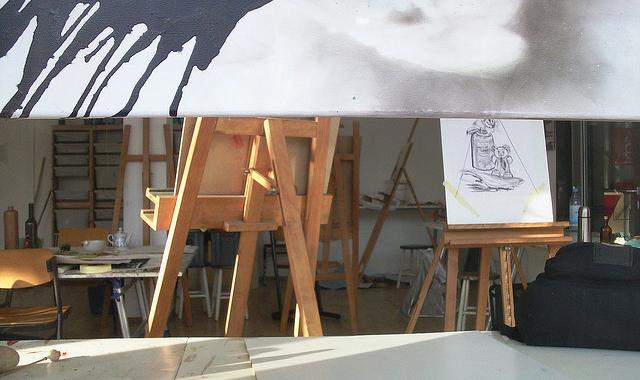 artist room easel setup paintings