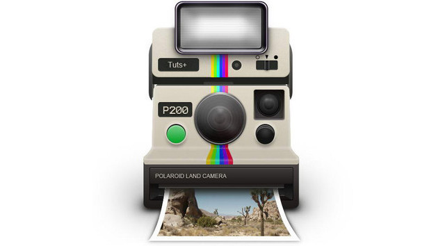 How To Draw a Vintage Polaroid Camera Icon