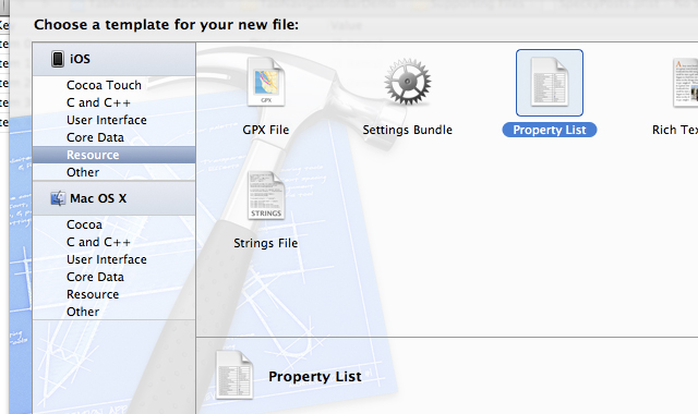 Xcode 4.2 screen - new file template from iOS property list