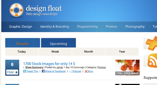 April 2012 Design Float Homepage posts