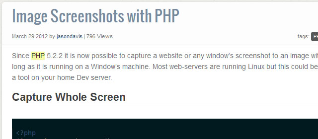 Create Image Screenshots with PHP