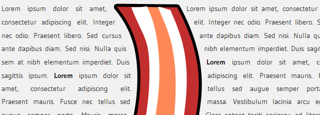 Bacon is a jQuery plugin that allows you to wrap text around a bezier curve